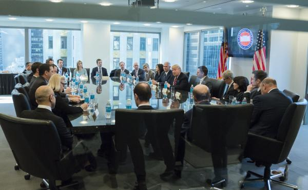 President-elect Donald Trump speaks with technology leaders at Trump Tower in New York.