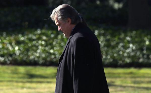 White House chief strategist Steve Bannon walks toward Marine One before departing from the White House in February.