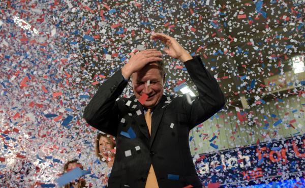 Gov. John Kasich celebrates his Ohio primary victory at Baldwin Wallace University in Berea, Ohio.
