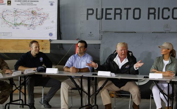 President Trump, who visited Puerto Rico with first lady Melania Trump in October 2017, denies 3,000 people died as a result of last year's hurricanes and falsely claims Democrats inflated it to make him look bad.