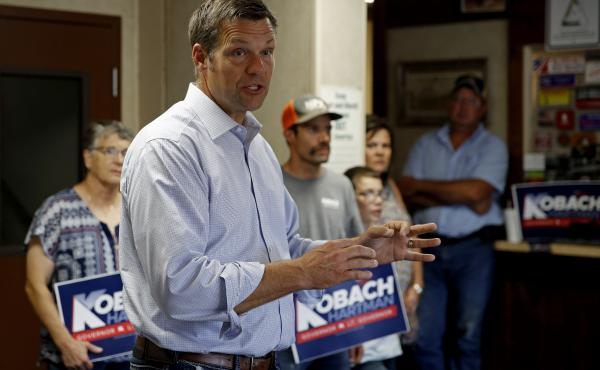 Kansas Secretary of State Kris Kobach and candidate for the Republican nomination for Kansas Governor addresses supporters during a campaign stop.