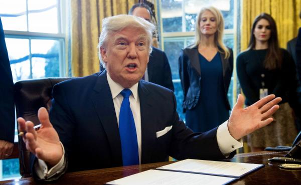 President Trump speaks before signing documents in the Oval Office related to the Dakota Access and Keystone pipelines on Tuesday.