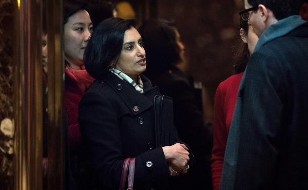 Seema Verma, now in line to head the Centers for Medicare & Medicaid Services, arrives at Trump Tower in New York City on Nov. 22.