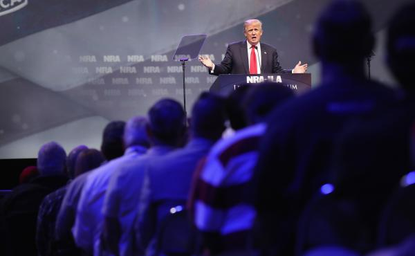 Then-presidential candidate Donald Trump speaks at the National Rifle Association's convention in May 2016 in Louisville, Ky.
