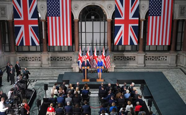 Trump and May give a joint press conference at the Foreign and Commonwealth Office in London on Tuesday.