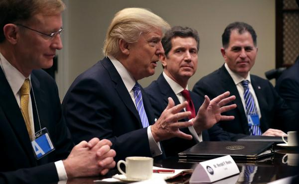 President Trump delivers opening remarks during a meeting with (from left) Wendell Weeks of Corning, Alex Gorsky of Johnson & Johnson, Michael Dell of Dell Technologies and other business leaders in the Roosevelt Room at the White House on Monday.