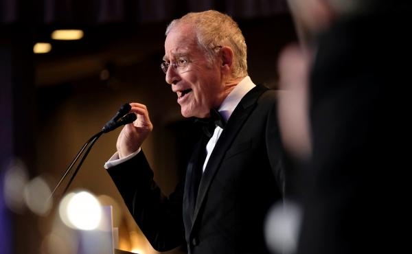 Author and historian Ron Chernow speaks at the annual White House Correspondents' Association dinner in Washington, D.C., on Saturday.