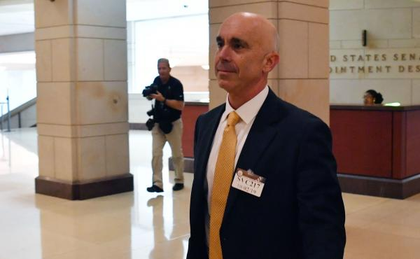 Steve Linick, shown after a briefing on Capitol Hill in 2019, was fired by President Trump on Friday as the State Department's inspector general.