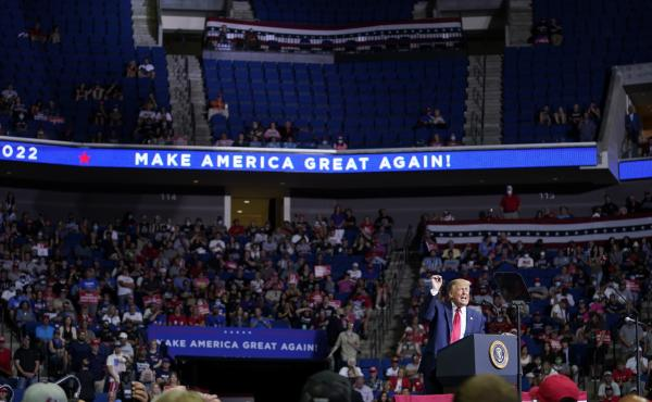 President Trump speaks during a campaign rally on Saturday at the BOK Center in Tulsa, Okla.