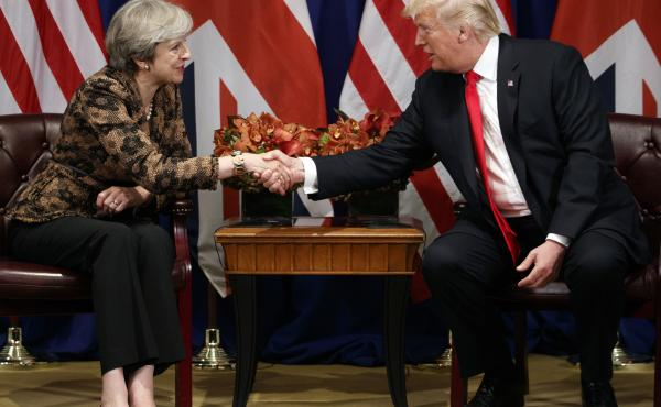 President Trump shakes hands with British Prime Minister Theresa May during their meeting at the Palace Hotel during the United Nations General Assembly in September.