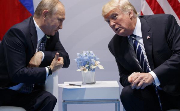 President Trump speaks with Russian President Vladimir Putin at the G20 Summit in Hamburg in July 2017.