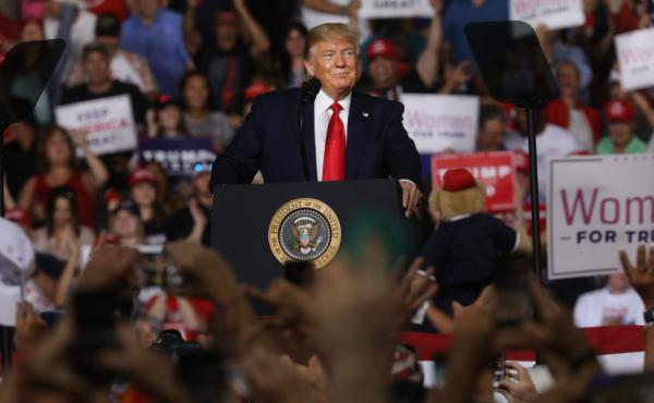 President Trump speaks to supporters at a rally in Manchester on Thursday in Manchester, N.H.