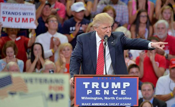 Republican presidential candidate Donald Trump addresses the audience during a campaign event at Trask Coliseum in Wilmington, N.C., on Tuesday.