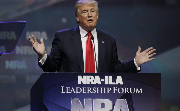 Then-Republican presidential candidate Donald Trump speaks at the National Rifle Association's 2016 convention in Louisville, Ky.
