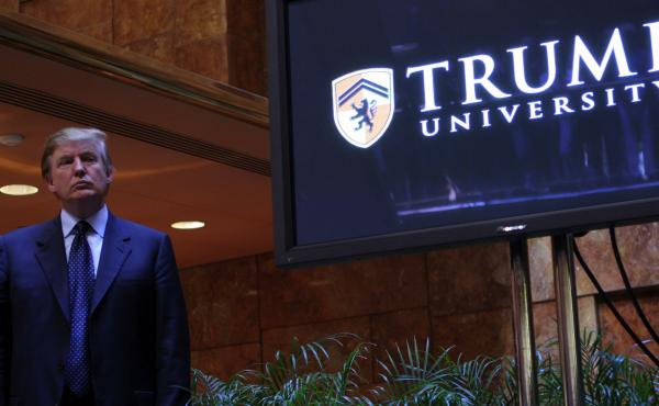 Donald Trump holds a media conference announcing the establishment of Trump University on May 23, 2005, in New York City.