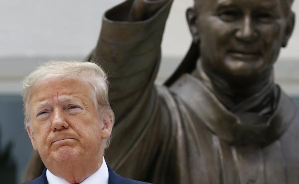 President Trump visits Saint John Paul II National Shrine Tuesday in Washington, D.C.
