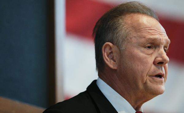 Former Alabama Chief Justice and U.S. Senate candidate Roy Moore debates with Sen. Luther Strange in Montgomery, Ala., on Sept. 21.