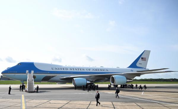 Air Force One following the arrival of U.S. President Donald Trump at Stansted Airport on June 3, 2019 in London, England.