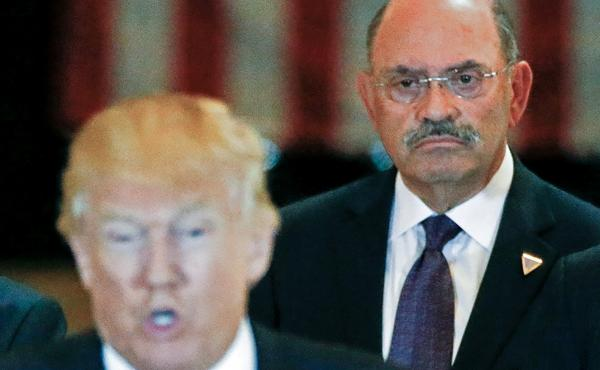 Allen Weisselberg, the Trump Organization's longtime chief financial officer, with then-U.S. Republican presidential candidate Donald Trump in 2016. Weisselberg and attorneys for the Trump Organization pleaded not guilty to charges Thursday.