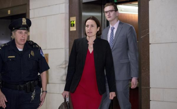 Fiona Hill, a former White House adviser on Russia, arrives on Capitol Hill on Monday ahead of her testimony in connection with the House impeachment inquiry into President Trump.
