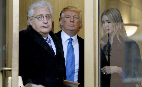 Attorney David Friedman (left) exits U.S. Bankruptcy Court in Camden, N.J., with Donald Trump and Trump's daughter Ivanka in a 2010 case involving Atlantic City casinos. The president-elect plans to nominate Friedman as U.S. ambassador to Israel.