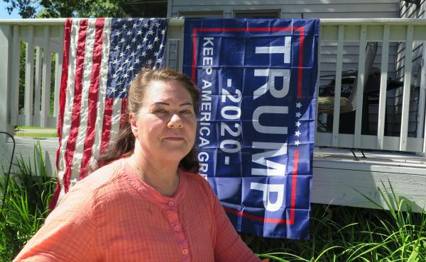 Deb Ibanez, who proudly displays Trump banners and lawn signs outside her home in Aitkin, Minn., is part of President Trump's firm base in this rural part of the state. Ibanez says she's worried about voter fraud and doubts about the outcome of the electi
