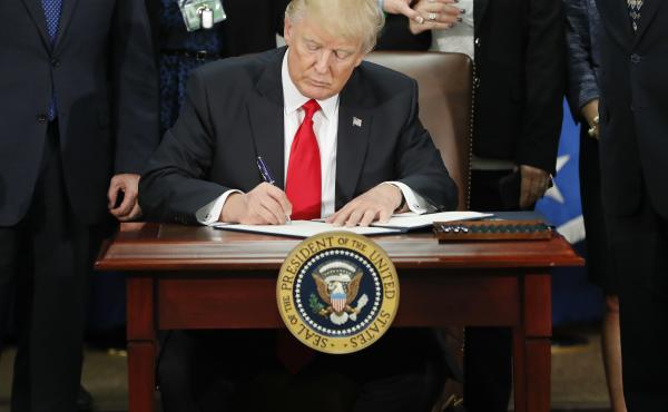President Trump signed an executive order on Thursday that would strip federal funds from so-called sanctuary cities.