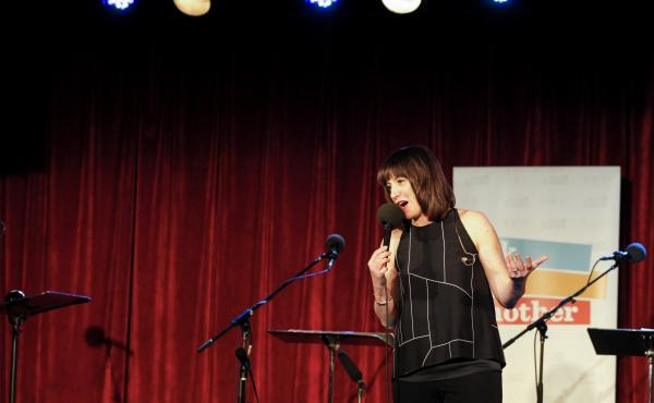 Ask Me Another Host Ophira Eisenberg performs at the Bell House in Brooklyn, New York.