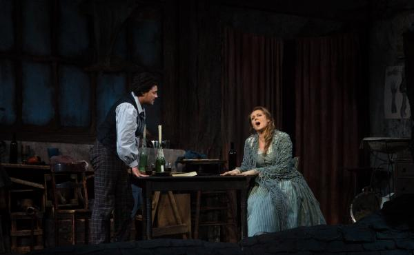 ... only to get a phone call at 7:30 a.m. Saturday asking her to fill in at the matinee performance of Puccini's La bohème, singing the lead role of Mimi, pictured here with Vittorio Grigolo as Rodolfo.