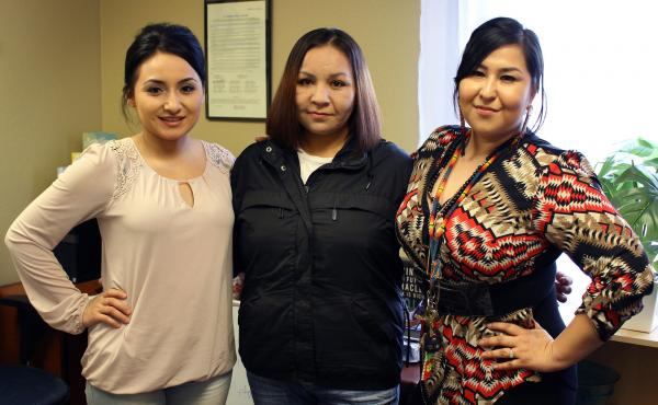 Charmayne Healy (l) and Miranda Kirk (r), co-founders of the Aaniiih Nakoda Anti-Drug Movement, have helped Melinda Healy, center, with their peer-support programs.