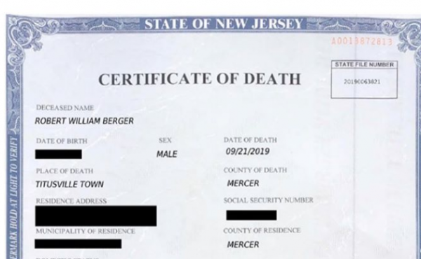 A copy of the alleged death certificate, including the spelling and font discrepancies that gave the ruse away, according to prosecutors.