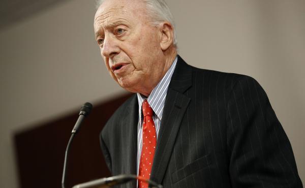 James Brady, chairman of the University System of Maryland Board of Regents, speaking at a news conference on Oct. 30, resigned on Thursday after days of outrage over the board's recommendation that football head coach DJ Durkin retain his job.
