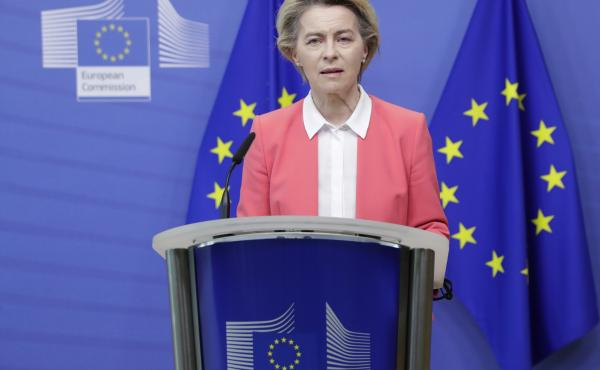 European Commission President Ursula von der Leyen delivers a statement at EU headquarters in Brussels on Sunday. Britain and the European Union say talks will continue on a free trade agreement — a deal that, if sealed, would avert New Year's chaos for