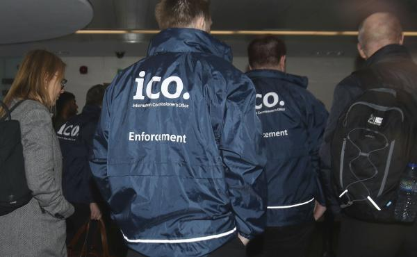 Officers from the Information Commissioner's Office enter the offices of Cambridge Analytica in central London. The investigators had a search warrant as part of what has been reported to be a broader investigation into possible ties between Cambridge Ana