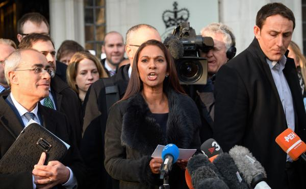 """Only Parliament can grant rights to the British people — and only Parliament can take them away,"" says lead claimant Gina Miller, seen here speaking outside the Supreme Court in London on Tuesday. Judges sided with Miller in her case seeking to block P"