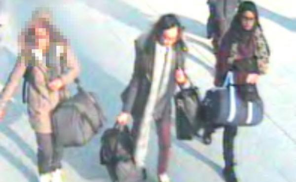 Surveillance footage shows three British girls who are believed to be on their way to Syria to join the Islamic State.