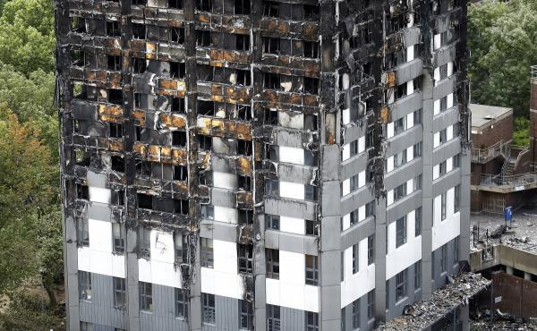 The Grenfell Tower apartment building in London, after it was badly damaged in a fire last month that killed dozens of people.