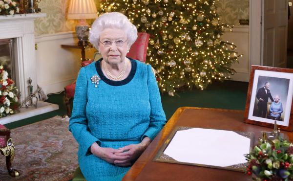 Queen Elizabeth II after recording her Christmas Day broadcast to the Commonwealth at Buckingham Palace on Dec. 24, 2016 in London, England.