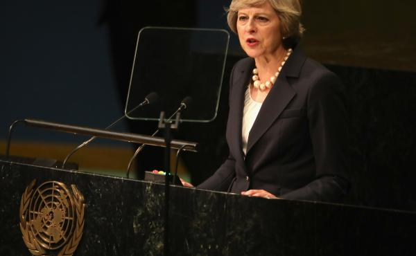 British Prime Minister Theresa May addresses the United Nations General Assembly on Sept. 20 in New York City.