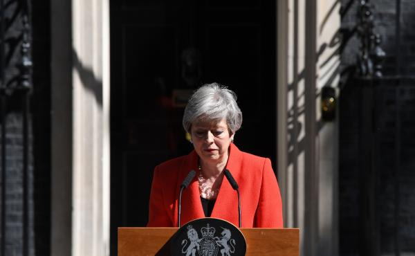 Prime Minister Theresa May announces her resignation outside No. 10 Downing St. in London on Friday.