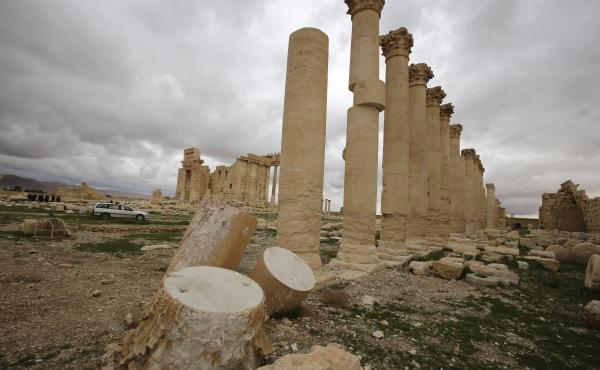 Columns in the courtyard of the temple of Baal in the ancient city of Palmyra are damaged by the shelling in this March 14, 2014, photograph.