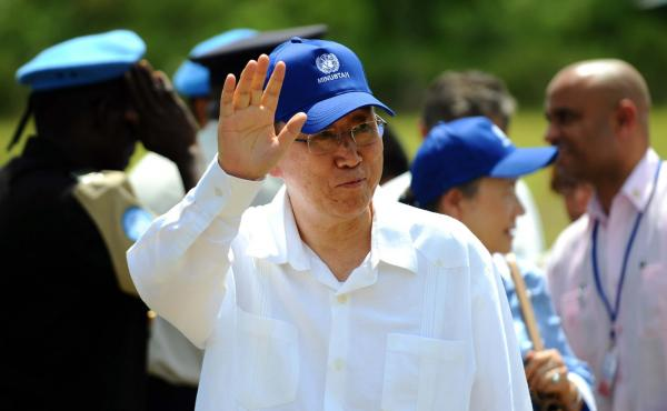 U.N. Secretary-General Ban Ki-moon, pictured during a 2014 visit to Haiti to inaugurate a sanitation campaign. On Thursday, he issued an apology that Haitians have been demanding for six years.