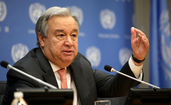 United Nations Secretary General Antonio Guterres speaks at the U.N. headquarters on January 16.