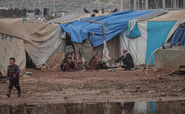 Many refugees, who have fled the fighting in Syria's Idlib province, are living in tents during a cold and snowy winter.