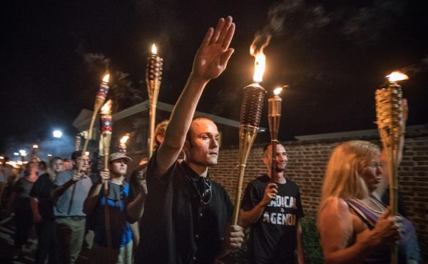 "Chants of ""White lives matter!"" ""You will not replace us!"" and ""Jews will not replace us!"" rang out on Aug. 11 as several hundred white nationalists and supremacists carried torches through the University of Virginia."