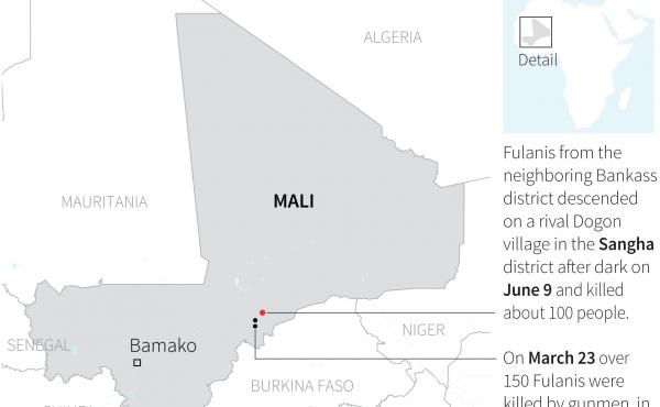 A map locating the attack that took place on June 9 in Sangha district and March 23 attack targeting two villages in Bankass district in Mali.