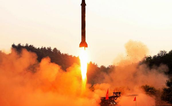 This undated photo released by North Korea's official Korean Central News Agency shows a ballistic missile test at an undisclosed location. On Friday, the U.N. Security Council voted unanimously to penalize North Korea for its recent missile tests with fu