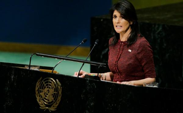 """U.S. Ambassador to the U.N. Nikki Haley told the General Assembly on Thursday: """"To its shame, the United Nations has long been a hostile place for the state of Israel."""""""