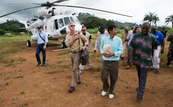 Anthony Banbury (second from left) just completed his final tour of West Africa before stepping down as the head of U.N.'s Ebola mission.