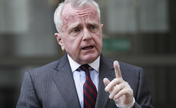 "John Sullivan, the U.S. ambassador to Russia, speaks to the media last year in Moscow. In a statement Tuesday, Sullivan said it was important for him to speak directly to ""my new colleagues in the Biden administration"" about U.S.-Russia relations."